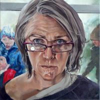 Self Portrait in Glasses (Oil on linen, 35 x 35cm)