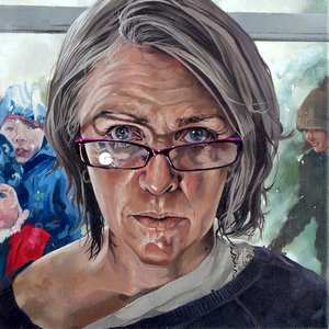 Self Portrait In Glasses CatherineMacDiarmid.oil.300mmx300mm.£950